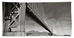 Golden Gate From The Water - Bw Beach Towel by Darcy Michaelchuk
