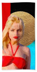 Beach Towel featuring the digital art Golden Girl No. 2 by Serge Averbukh
