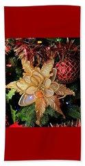 Golden Glitter Christmas Ornaments Beach Sheet