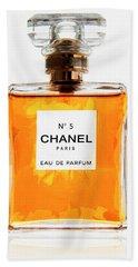 Golden Glow Of Chanel No. 5 Beach Sheet