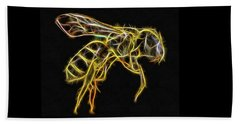 Golden Honey Bee Fractalized Beach Towel