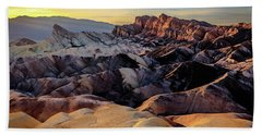 Golden Hour Light On Zabriskie Point Beach Towel