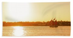 Golden Hour Sailing Ship Beach Sheet