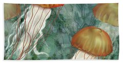 Golden Jellyfish In Green Sea Beach Towel