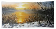 Golden Lake Sunrise  Beach Towel by Vesna Martinjak