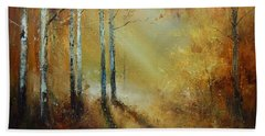 Golden Light In Autumn Woods Beach Towel