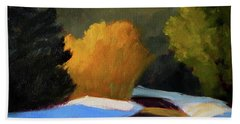 Beach Towel featuring the painting Golden Light Winter Road by Nancy Merkle