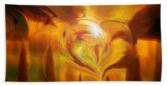 Beach Towel featuring the digital art Golden Love by Linda Sannuti