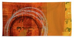 Beach Towel featuring the painting Golden Marks 11 by Nancy Merkle