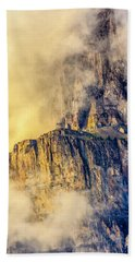 Golden Mist On Cathedral Mountain Beach Towel