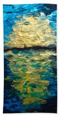 Golden Moon Reflection Beach Towel