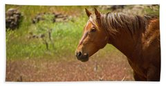 Golden Mustang Stallion Beach Towel