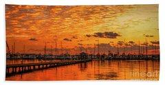Golden Orange Sunrise Beach Towel