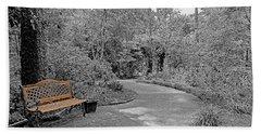 Golden Park Bench Along The Gardens Walkway Beach Towel