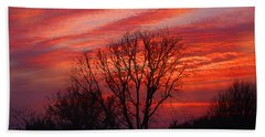 Beach Towel featuring the digital art Golden Pink Sunset With Trees by Shelli Fitzpatrick