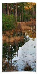 Beach Towel featuring the photograph Golden Pond by Lori Mellen-Pagliaro