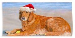 Beach Towel featuring the painting Golden Retreiver Holiday Card by Karen Zuk Rosenblatt