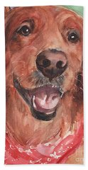 Golden Retriever Dog In Watercolori Beach Towel