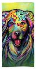 Beach Towel featuring the pastel Golden Retriever by Patricia Lintner