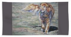 Golden Retriever Play Time Beach Towel