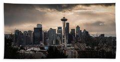 Golden Seattle Beach Towel by Chris McKenna