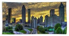 Beach Towel featuring the photograph Golden Skies Atlanta Downtown Sunset Cityscape Art by Reid Callaway