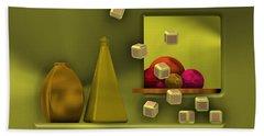 Beach Towel featuring the digital art Golden Still Life With Red Balls  by Alberto RuiZ