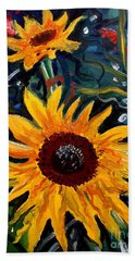 Golden Sunflower Burst Beach Sheet