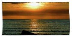 Beach Sheet featuring the photograph Golden Sunset At The Beach IIi by Mariola Bitner