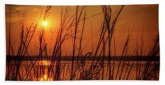 Golden Sunset At The Lake Beach Sheet