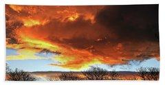 Golden Sunset With Filigree Trees Beach Sheet