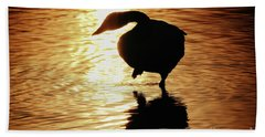 Beach Towel featuring the photograph Golden Swan by Tatsuya Atarashi