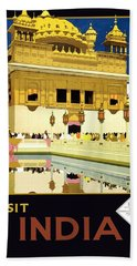 Golden Temple Amritsar India - Vintage Travel Advertising Poster Beach Towel
