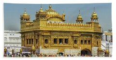 Golden Temple Punjab India With Clear Sky 2 Beach Towel