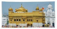 Golden Temple Punjab India With Clear Sky Beach Towel