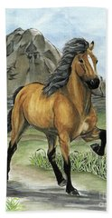 Golden Tolt Icelandic Horse Beach Towel by Shari Nees