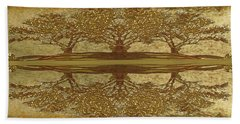 Golden Trees Reflection Beach Towel