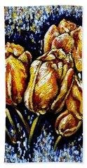 Golden Tulips Beach Towel