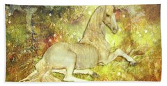 Golden Unicorn Dreams Beach Towel