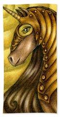 Golden Unicorn Warrior Art Beach Towel