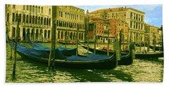 Beach Towel featuring the photograph Golden Venice by Anne Kotan