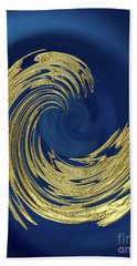 Golden Wave Abstract Beach Towel