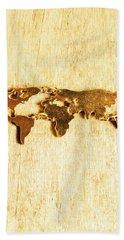 Golden World Continents Beach Towel