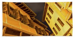 Golden Yellow Night - Chic Zigzags Of Oriel Windows And Serrated Roof Lines Beach Towel