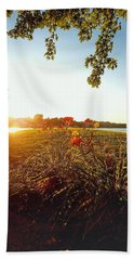 Goldenhour Flowers Beach Towel
