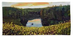 Beach Towel featuring the painting Goldenrods On Davenport Lake-ellijay, Ga  by Jan Dappen