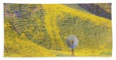 Goldfields And Windmill At Carrizo Plain  Beach Towel