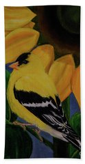 Goldfinch And Sunflower Beach Towel by Jane Axman