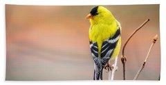 Goldfinch At Sunrise Beach Towel