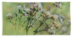 Goldfinches On Thistle Beach Towel